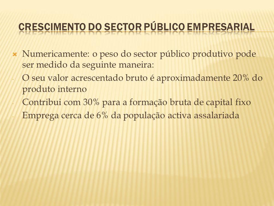 Numericamente: o peso do sector público produtivo pode ser medido da seguinte maneira: - O seu valor acrescentado bruto é aproximadamente 20% do produ