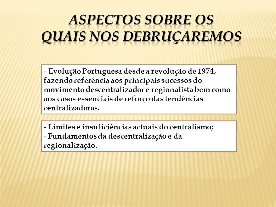 - Evolução Portuguesa desde a revolução de 1974, fazendo referência aos principais sucessos do movimento descentralizador e regionalista bem como aos