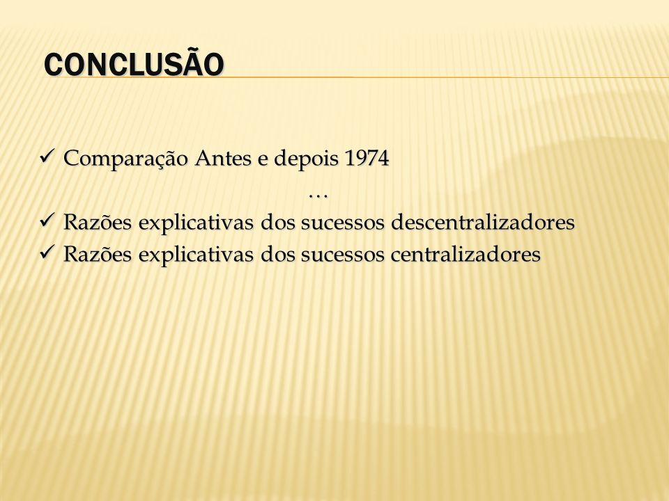 CONCLUSÃO Comparação Antes e depois 1974 Comparação Antes e depois 1974… Razões explicativas dos sucessos descentralizadores Razões explicativas dos s