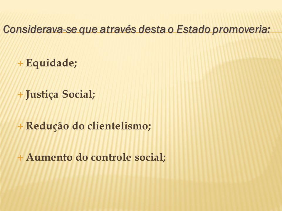 Considerava-se que através desta o Estado promoveria: Equidade; Justiça Social; Redução do clientelismo; Aumento do controle social;