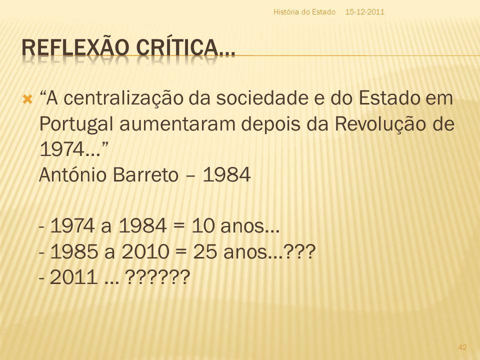 A centralização da sociedade e do Estado em Portugal aumentaram depois da Revolução de 1974… António Barreto – 1984 - 1974 a 1984 = 10 anos… - 1985 a