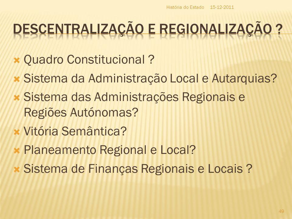 Quadro Constitucional ? Sistema da Administração Local e Autarquias? Sistema das Administrações Regionais e Regiões Autónomas? Vitória Semântica? Plan