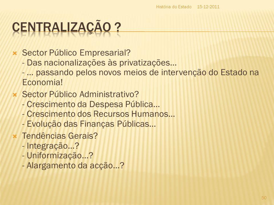Sector Público Empresarial? - Das nacionalizações às privatizações… - … passando pelos novos meios de intervenção do Estado na Economia! Sector Públic