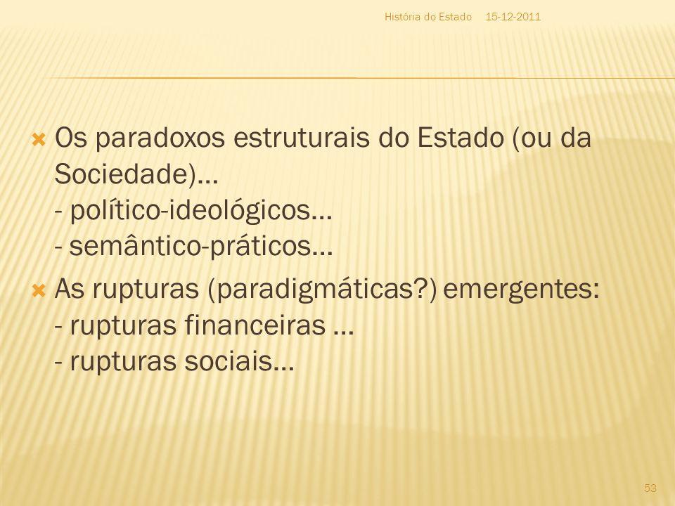 Os paradoxos estruturais do Estado (ou da Sociedade)… - político-ideológicos… - semântico-práticos… As rupturas (paradigmáticas?) emergentes: - ruptur