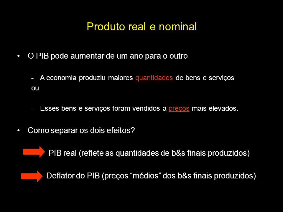 Produto real e nominal O PIB pode aumentar de um ano para o outro -A economia produziu maiores quantidades de bens e serviços ou -Esses bens e serviço