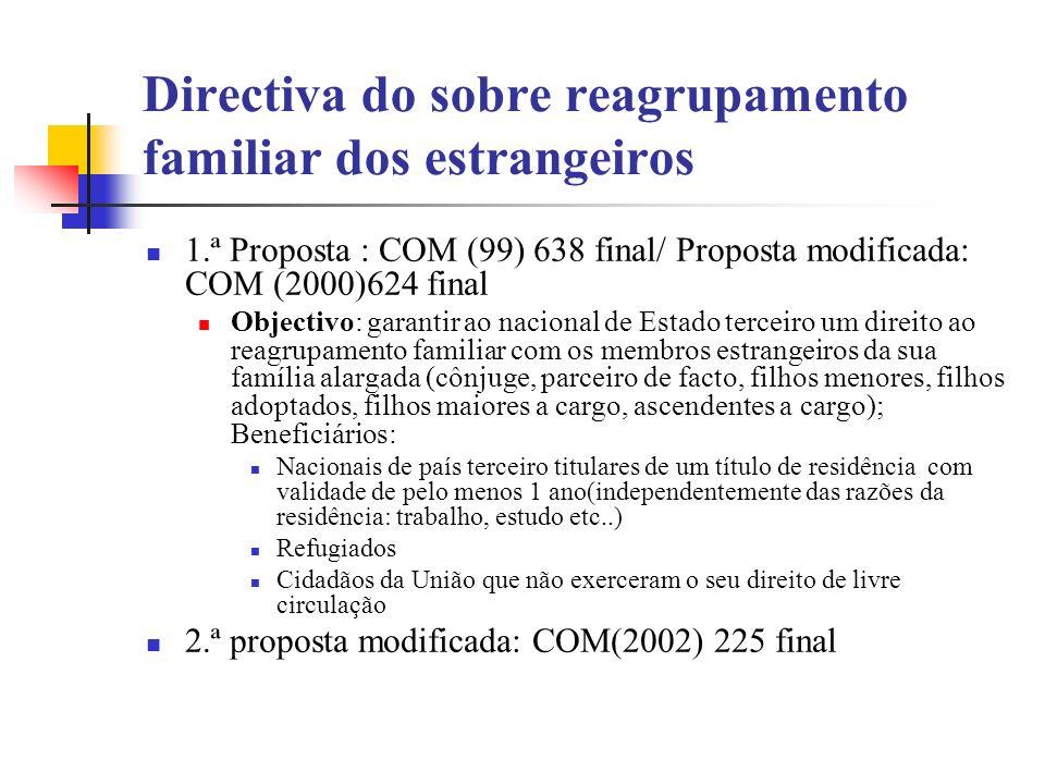 Directiva do sobre reagrupamento familiar dos estrangeiros 1.ª Proposta : COM (99) 638 final/ Proposta modificada: COM (2000)624 final Objectivo: gara