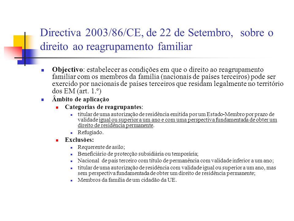 Directiva 2003/86/CE, de 22 de Setembro, sobre o direito ao reagrupamento familiar Objectivo: estabelecer as condições em que o direito ao reagrupamen