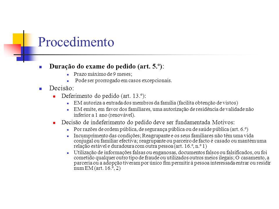 Procedimento Duração do exame do pedido (art. 5.º) : Prazo máximo de 9 meses; Pode ser prorrogado em casos excepcionais. Decisão: Deferimento do pedid