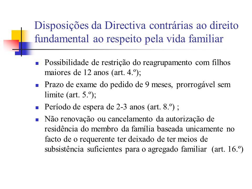 Disposições da Directiva contrárias ao direito fundamental ao respeito pela vida familiar Possibilidade de restrição do reagrupamento com filhos maior