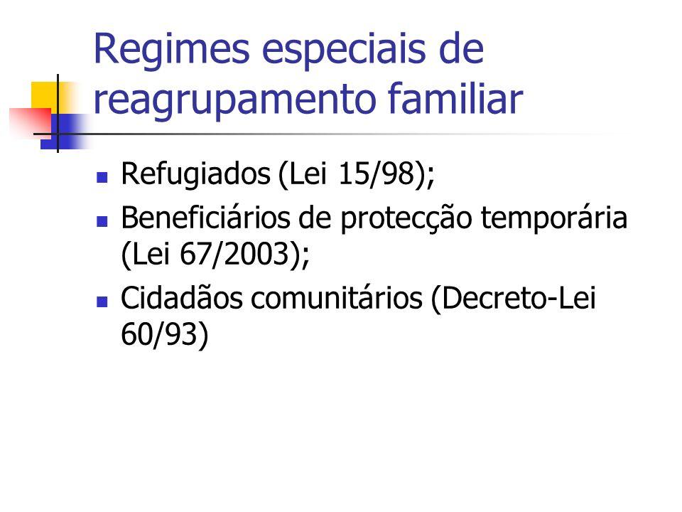 Regimes especiais de reagrupamento familiar Refugiados (Lei 15/98); Beneficiários de protecção temporária (Lei 67/2003); Cidadãos comunitários (Decret