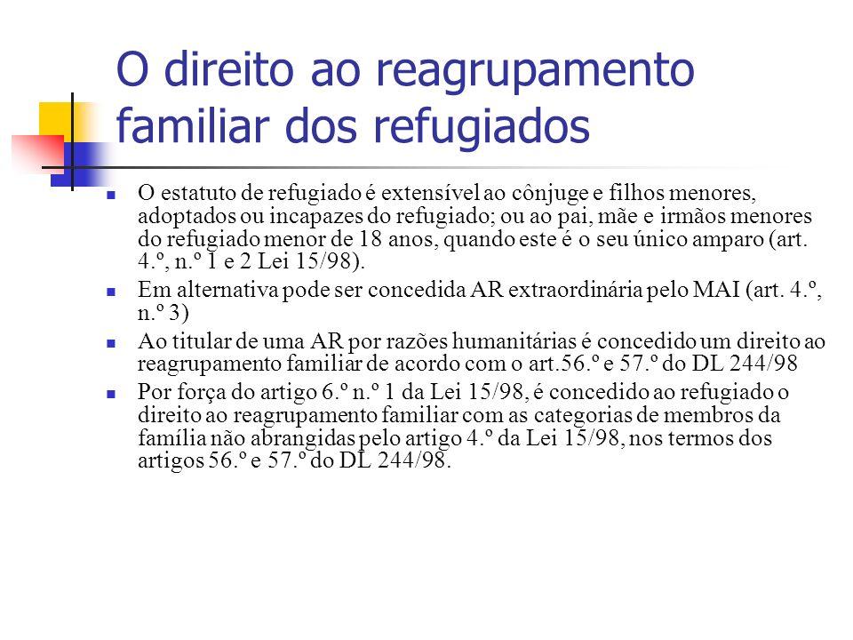 O direito ao reagrupamento familiar dos refugiados O estatuto de refugiado é extensível ao cônjuge e filhos menores, adoptados ou incapazes do refugia
