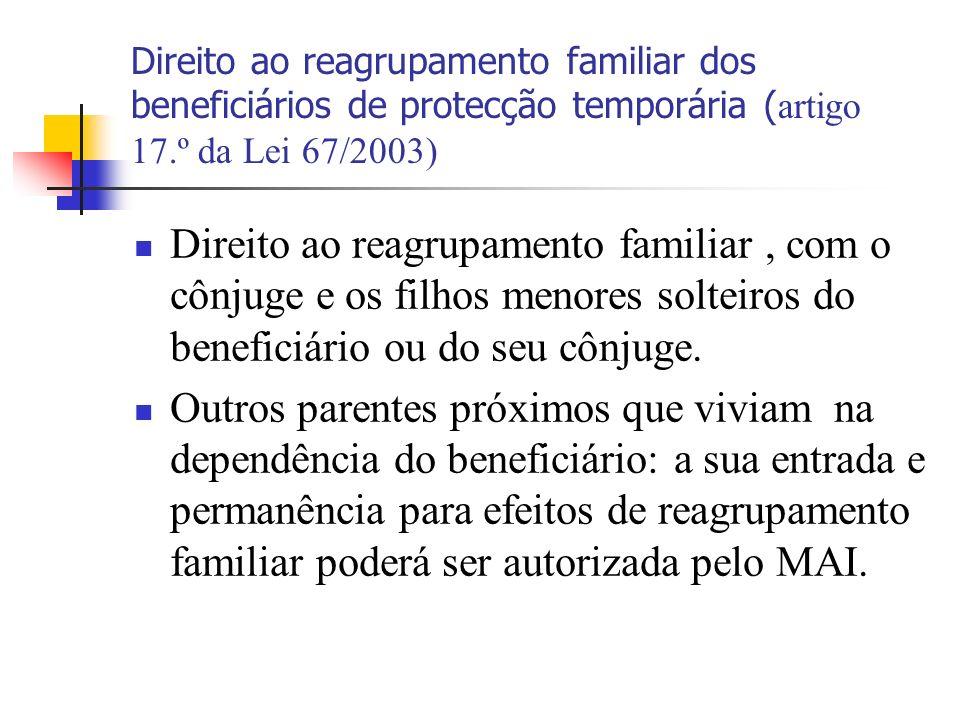 Direito ao reagrupamento familiar dos beneficiários de protecção temporária ( artigo 17.º da Lei 67/2003) Direito ao reagrupamento familiar, com o côn