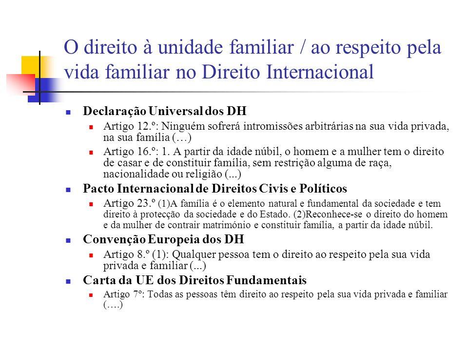 O direito à unidade familiar / ao respeito pela vida familiar no Direito Internacional Declaração Universal dos DH Artigo 12.º: Ninguém sofrerá introm