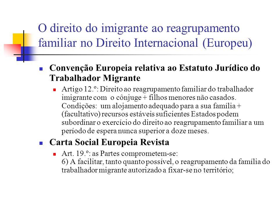 O direito do imigrante ao reagrupamento familiar no Direito Internacional (Europeu) Convenção Europeia relativa ao Estatuto Jurídico do Trabalhador Mi
