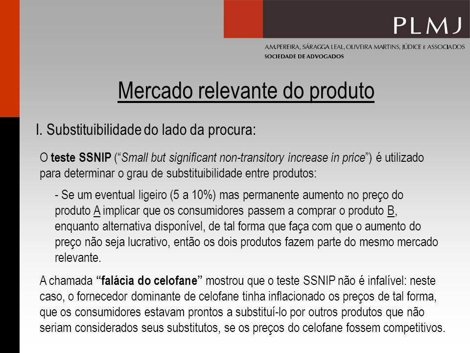 Mercado relevante do produto I. Substituibilidade do lado da procura: A chamada falácia do celofane mostrou que o teste SSNIP não é infalível: neste c