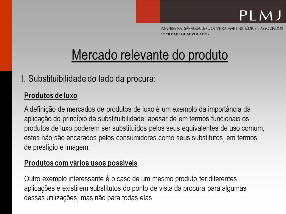 Mercado relevante do produto I. Substituibilidade do lado da procura: Produtos com vários usos possíveis Produtos de luxo A definição de mercados de p