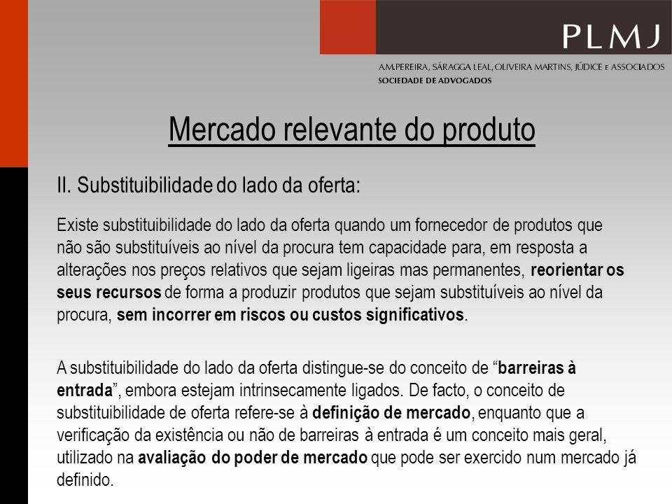 Mercado relevante do produto II. Substituibilidade do lado da oferta: Existe substituibilidade do lado da oferta quando um fornecedor de produtos que