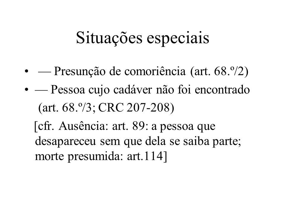 Situações especiais Presunção de comoriência (art. 68.º/2) Pessoa cujo cadáver não foi encontrado (art. 68.º/3; CRC 207-208) [cfr. Ausência: art. 89: