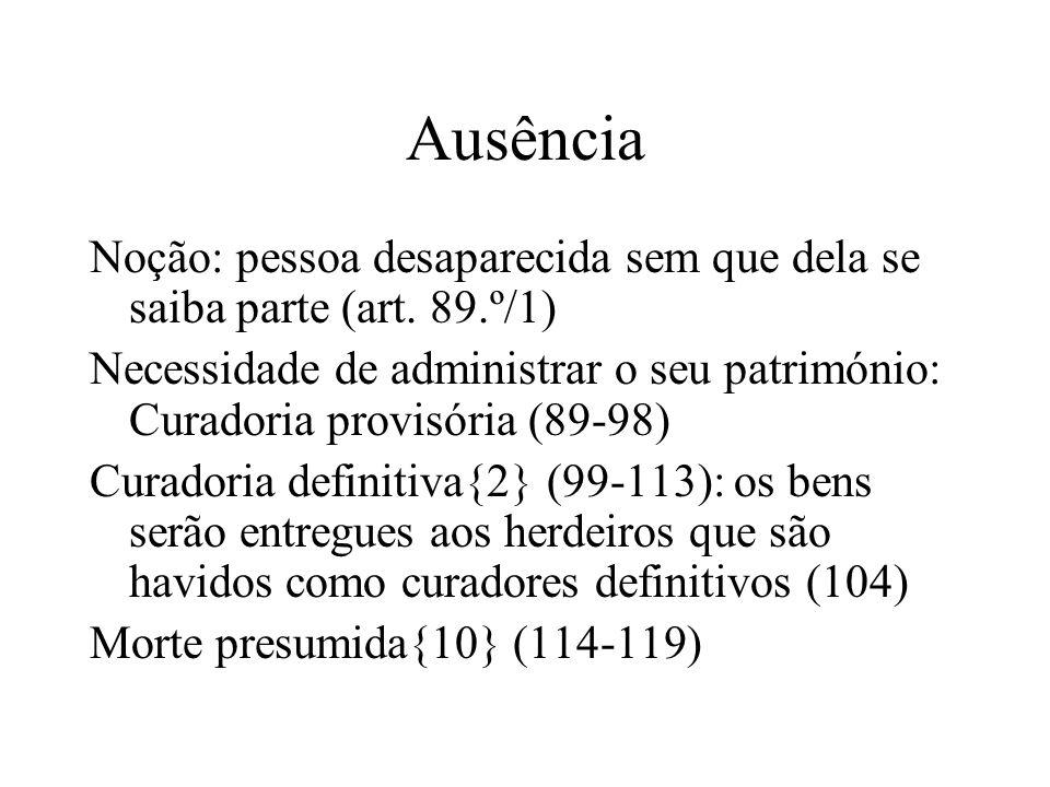 Ausência Noção: pessoa desaparecida sem que dela se saiba parte (art. 89.º/1) Necessidade de administrar o seu património: Curadoria provisória (89-98