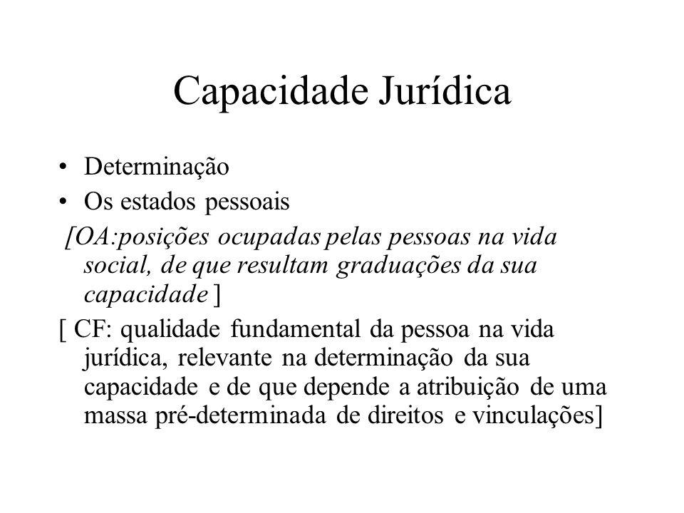 Capacidade Jurídica Determinação Os estados pessoais [OA:posições ocupadas pelas pessoas na vida social, de que resultam graduações da sua capacidade