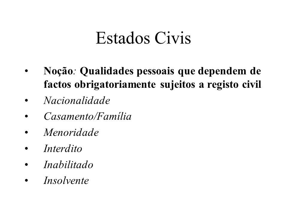Estados Civis Noção: Qualidades pessoais que dependem de factos obrigatoriamente sujeitos a registo civil Nacionalidade Casamento/Família Menoridade I
