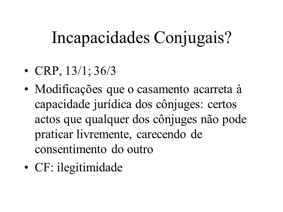 Incapacidades Conjugais? CRP, 13/1; 36/3 Modificações que o casamento acarreta à capacidade jurídica dos cônjuges: certos actos que qualquer dos cônju