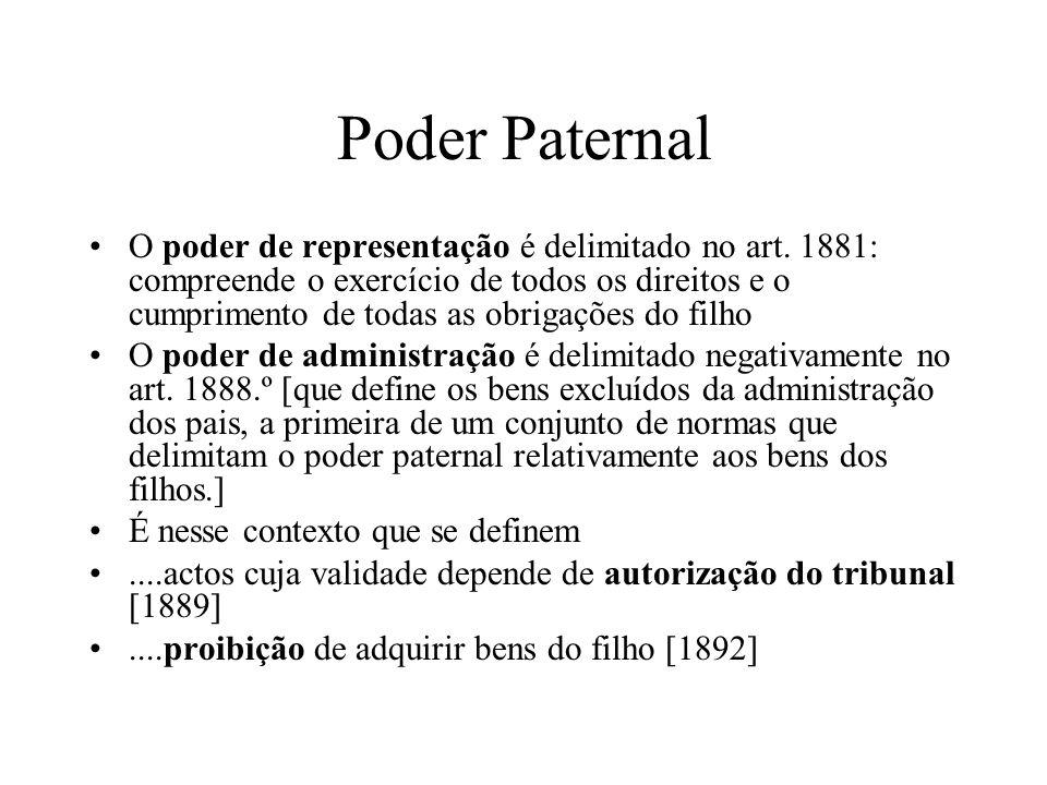 Poder Paternal O poder de representação é delimitado no art. 1881: compreende o exercício de todos os direitos e o cumprimento de todas as obrigações