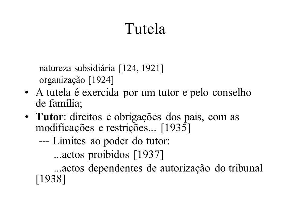 Tutela natureza subsidiária [124, 1921] organização [1924] A tutela é exercida por um tutor e pelo conselho de família; Tutor: direitos e obrigações d