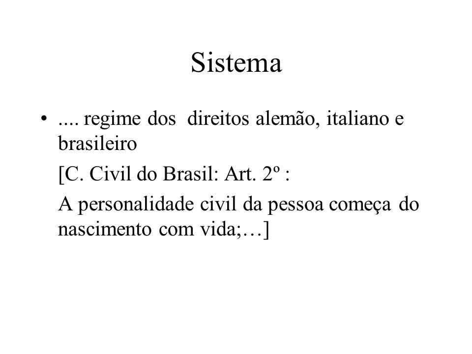 Sistema.... regime dos direitos alemão, italiano e brasileiro [C. Civil do Brasil: Art. 2º : A personalidade civil da pessoa começa do nascimento com
