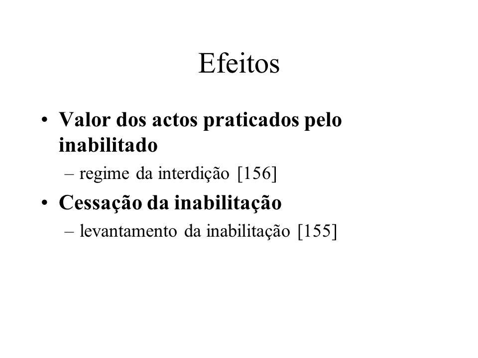 Efeitos Valor dos actos praticados pelo inabilitado –regime da interdição [156] Cessação da inabilitação –levantamento da inabilitação [155]