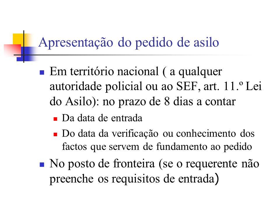 Apresentação do pedido de asilo Em território nacional ( a qualquer autoridade policial ou ao SEF, art. 11.º Lei do Asilo): no prazo de 8 dias a conta