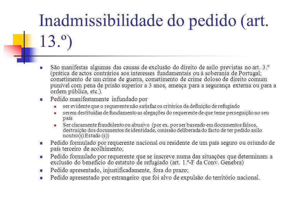 Inadmissibilidade do pedido (art. 13.º) São manifestas algumas das causas de exclusão do direito de asilo previstas no art. 3.º (prática de actos cont