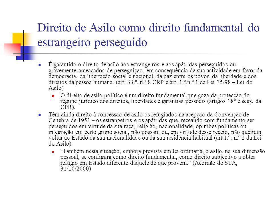 Direito de Asilo como direito fundamental do estrangeiro perseguido É garantido o direito de asilo aos estrangeiros e aos apátridas perseguidos ou gra