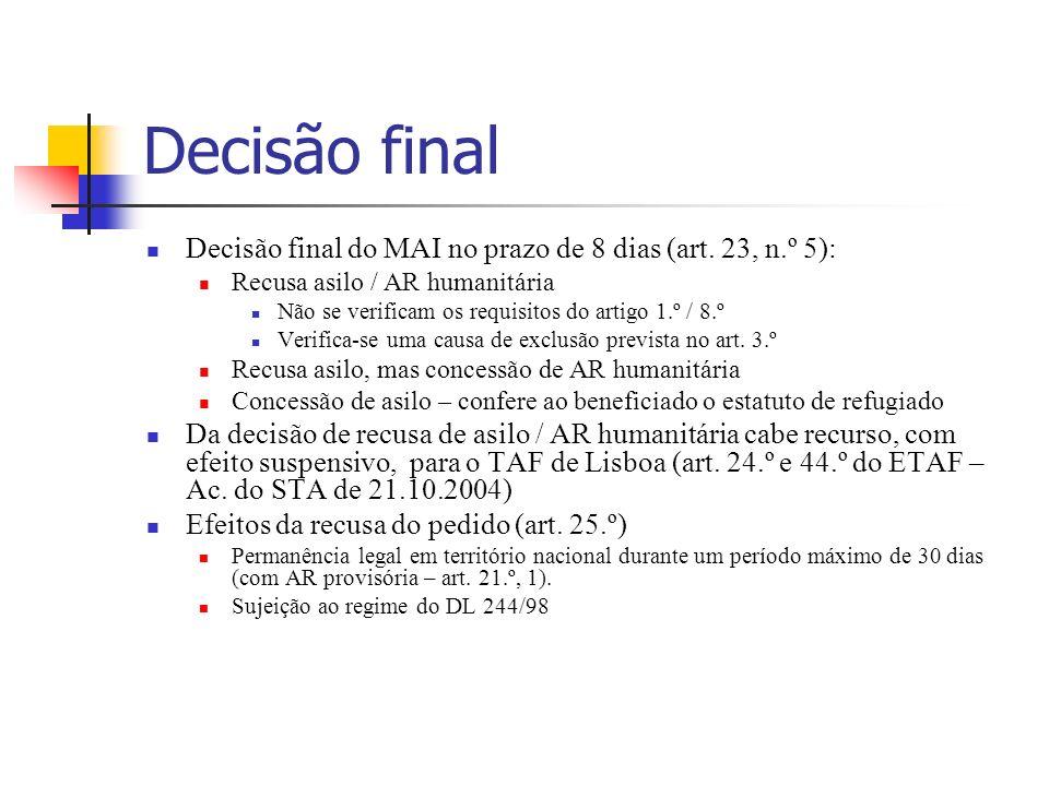 Decisão final Decisão final do MAI no prazo de 8 dias (art. 23, n.º 5): Recusa asilo / AR humanitária Não se verificam os requisitos do artigo 1.º / 8