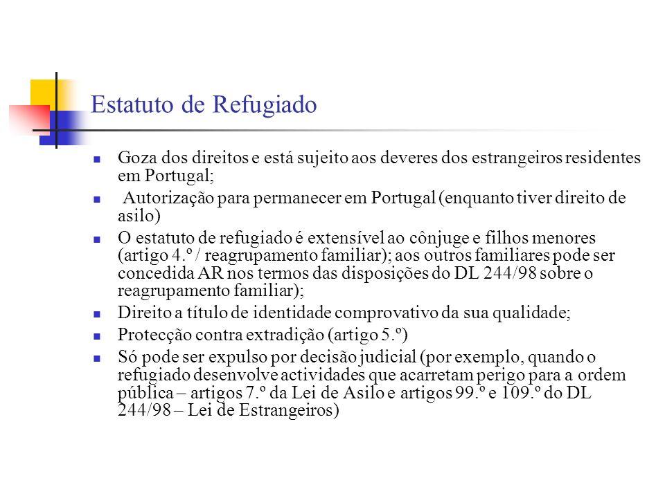 Estatuto de Refugiado Goza dos direitos e está sujeito aos deveres dos estrangeiros residentes em Portugal; Autorização para permanecer em Portugal (e