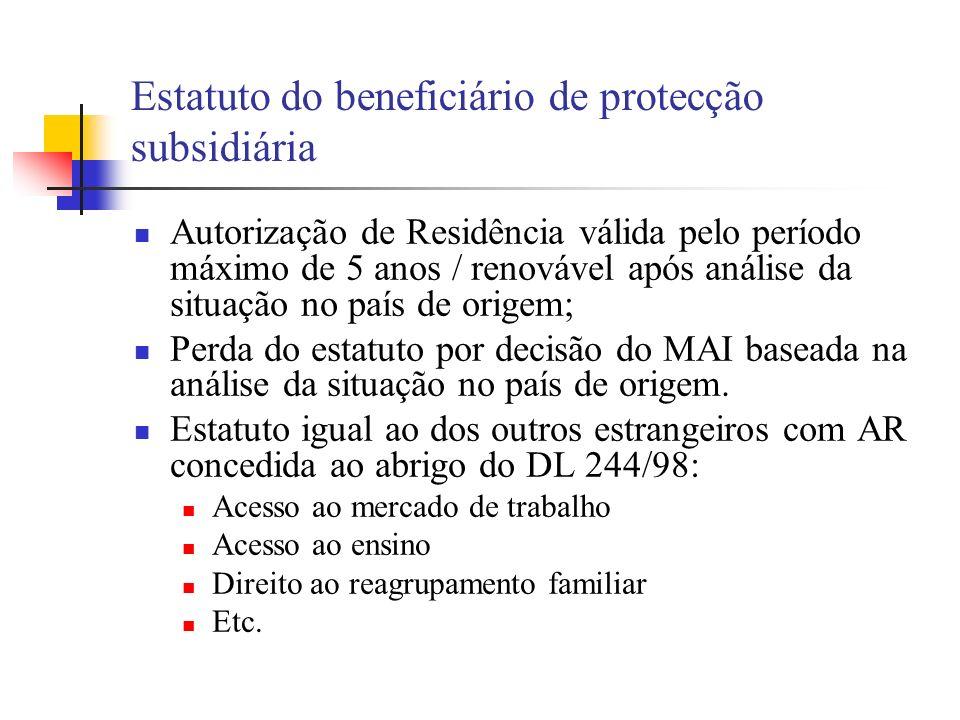 Estatuto do beneficiário de protecção subsidiária Autorização de Residência válida pelo período máximo de 5 anos / renovável após análise da situação
