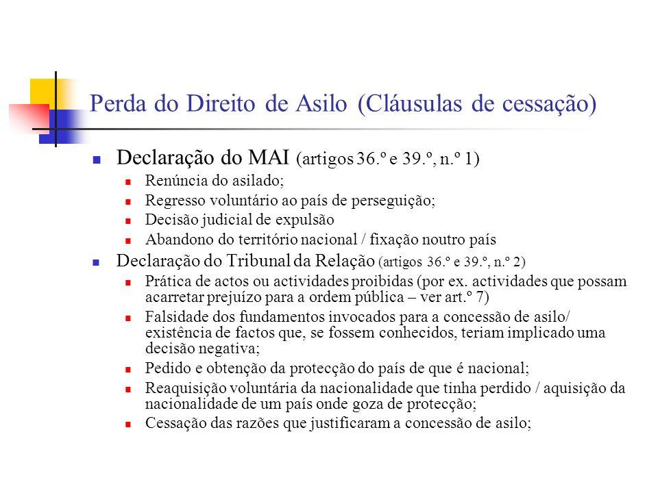 Perda do Direito de Asilo (Cláusulas de cessação) Declaração do MAI (artigos 36.º e 39.º, n.º 1) Renúncia do asilado; Regresso voluntário ao país de p