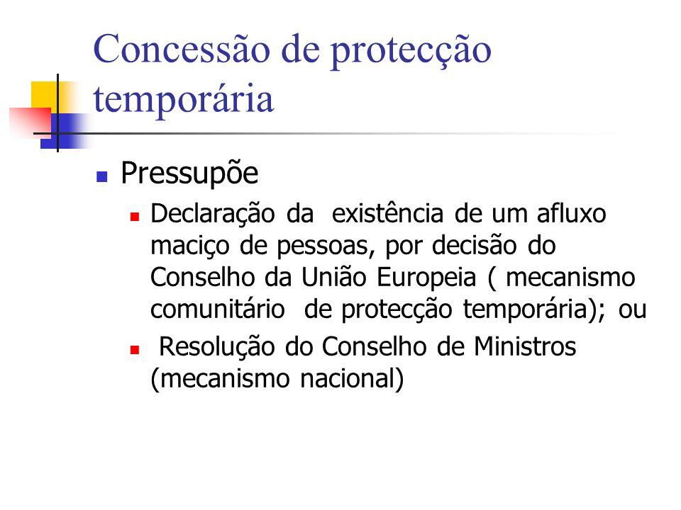 Concessão de protecção temporária Pressupõe Declaração da existência de um afluxo maciço de pessoas, por decisão do Conselho da União Europeia ( mecan