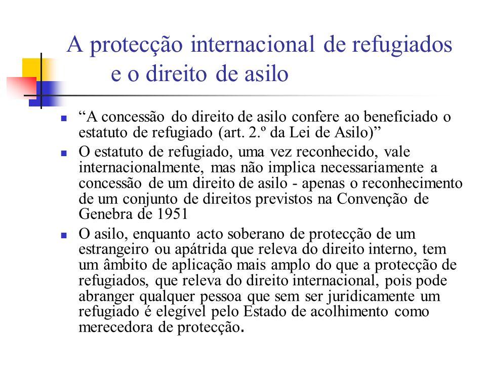 A protecção internacional de refugiados e o direito de asilo A concessão do direito de asilo confere ao beneficiado o estatuto de refugiado (art. 2.º