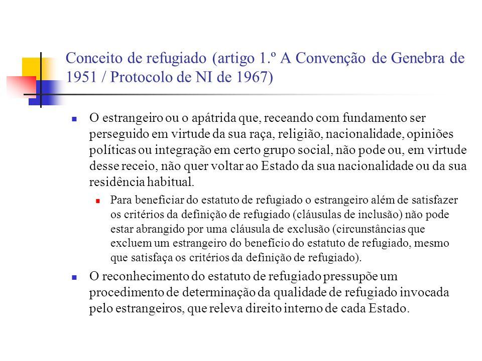 Conceito de refugiado (artigo 1.º A Convenção de Genebra de 1951 / Protocolo de NI de 1967) O estrangeiro ou o apátrida que, receando com fundamento s