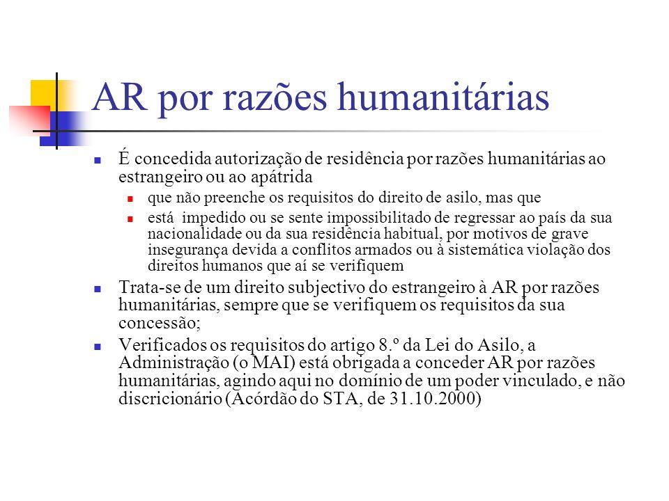 AR por razões humanitárias É concedida autorização de residência por razões humanitárias ao estrangeiro ou ao apátrida que não preenche os requisitos