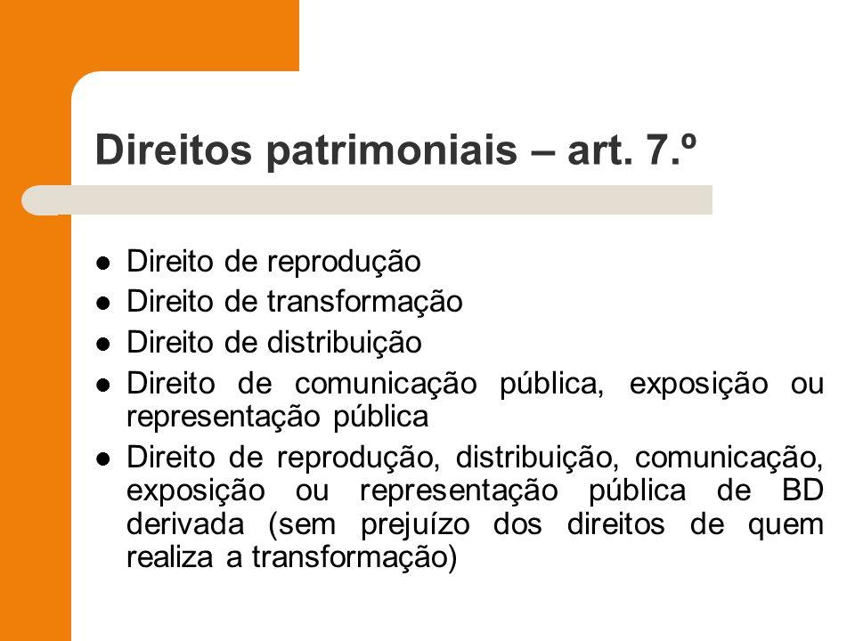 Direitos patrimoniais – art. 7.º Direito de reprodução Direito de transformação Direito de distribuição Direito de comunicação pública, exposição ou r