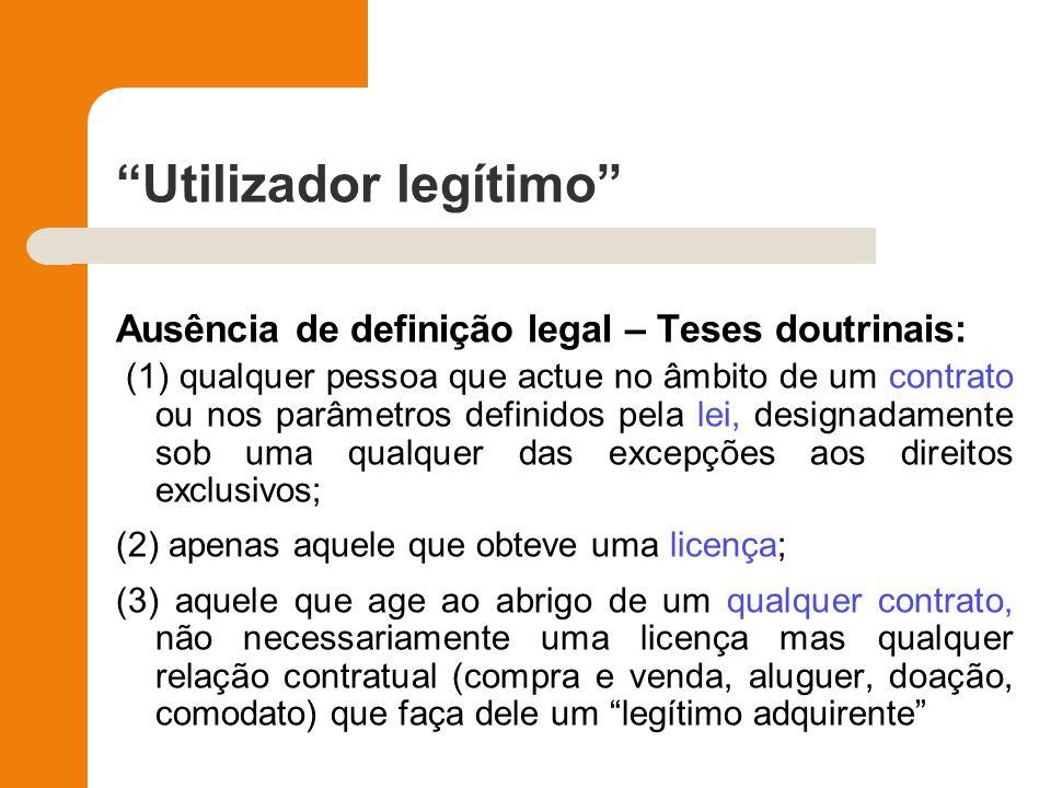 Utilizador legítimo Ausência de definição legal – Teses doutrinais: (1) qualquer pessoa que actue no âmbito de um contrato ou nos parâmetros definidos