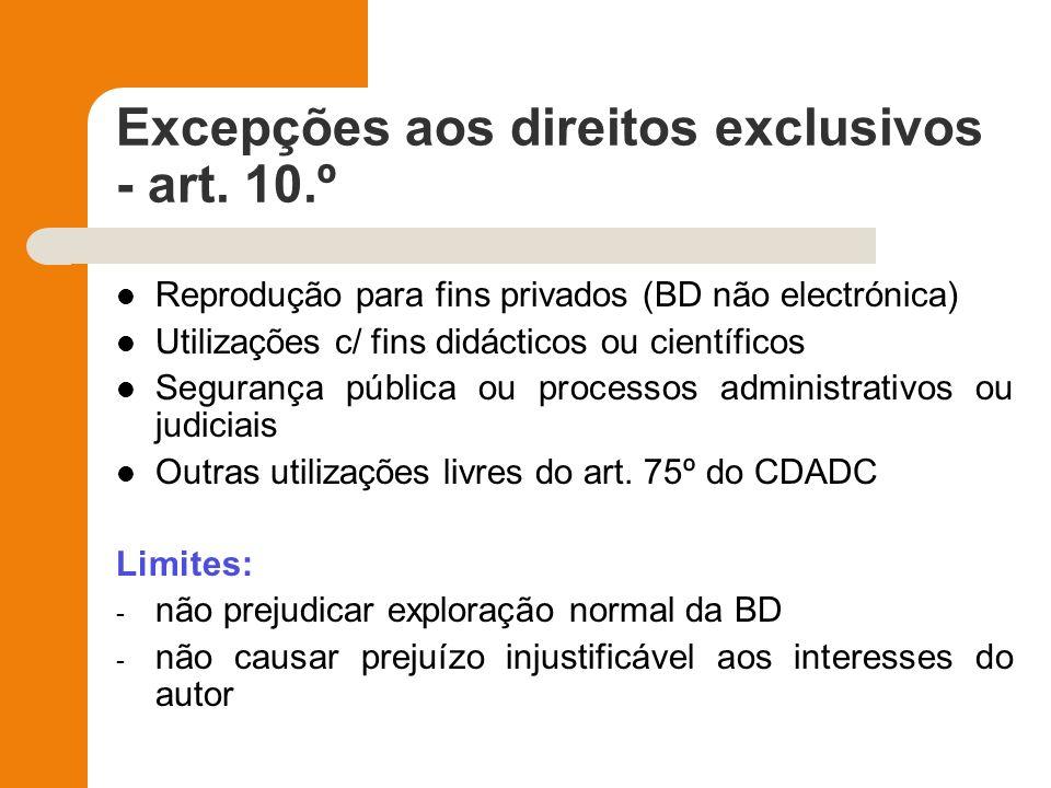 Excepções aos direitos exclusivos - art. 10.º Reprodução para fins privados (BD não electrónica) Utilizações c/ fins didácticos ou científicos Seguran