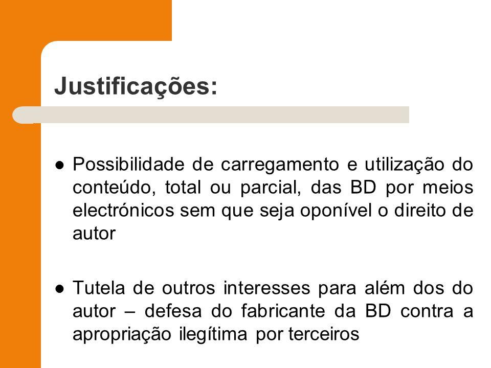 Justificações: Possibilidade de carregamento e utilização do conteúdo, total ou parcial, das BD por meios electrónicos sem que seja oponível o direito