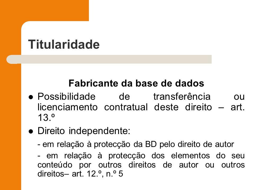 Titularidade Fabricante da base de dados Possibilidade de transferência ou licenciamento contratual deste direito – art. 13.º Direito independente: -