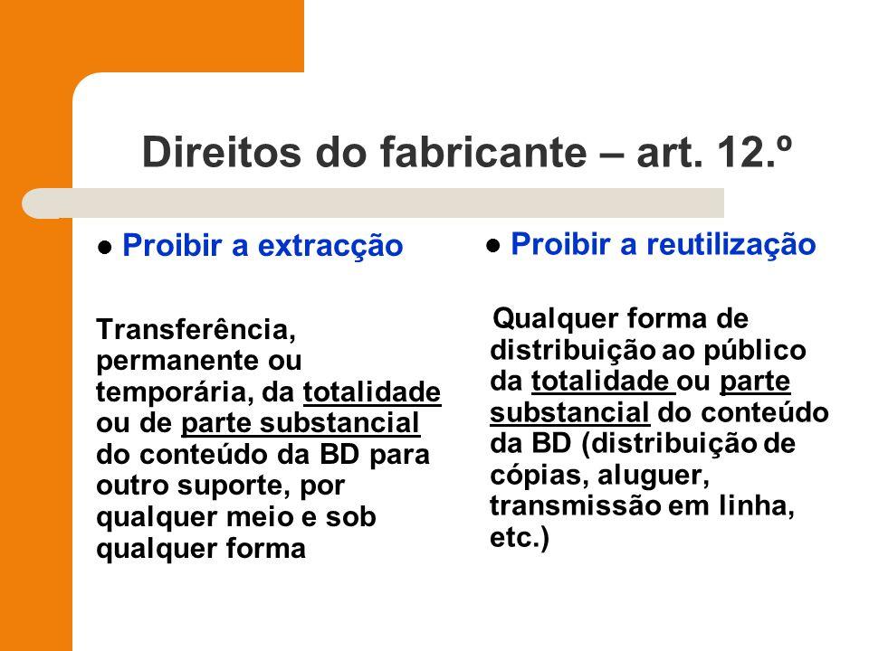 Direitos do fabricante – art. 12.º Proibir a extracção Transferência, permanente ou temporária, da totalidade ou de parte substancial do conteúdo da B