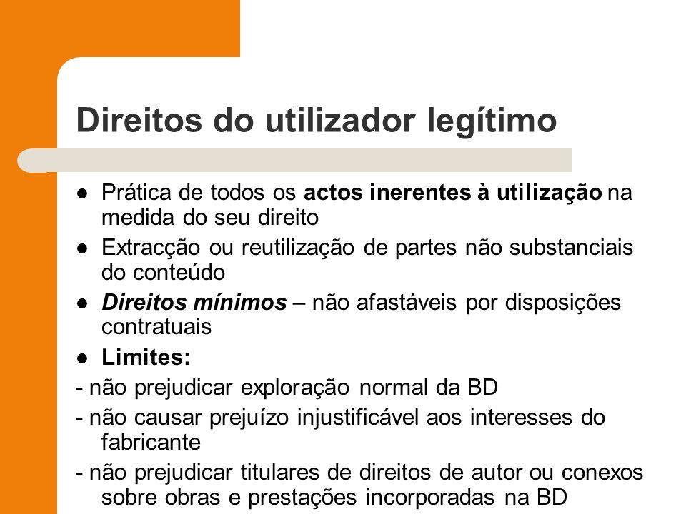 Direitos do utilizador legítimo Prática de todos os actos inerentes à utilização na medida do seu direito Extracção ou reutilização de partes não subs