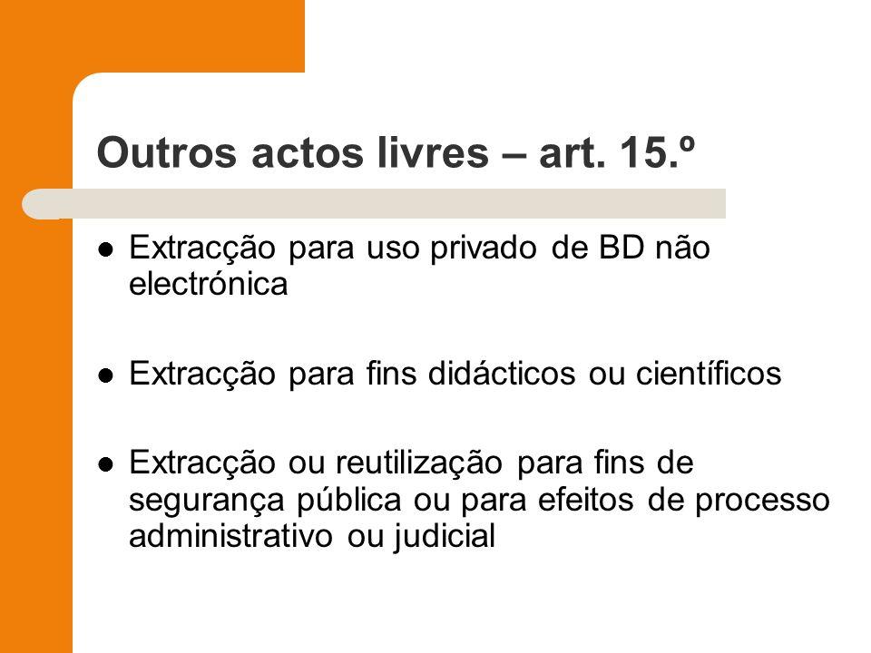 Outros actos livres – art. 15.º Extracção para uso privado de BD não electrónica Extracção para fins didácticos ou científicos Extracção ou reutilizaç