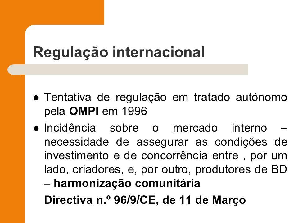 Regulação internacional Tentativa de regulação em tratado autónomo pela OMPI em 1996 Incidência sobre o mercado interno – necessidade de assegurar as